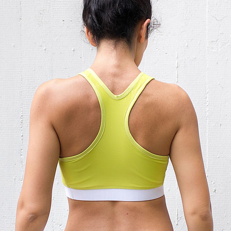 Yellow sports bra